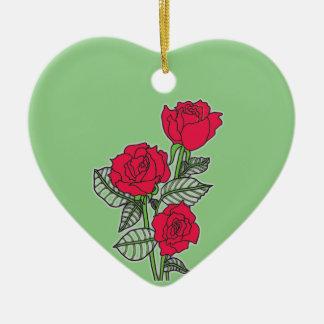 Roses Ornement Cœur En Céramique