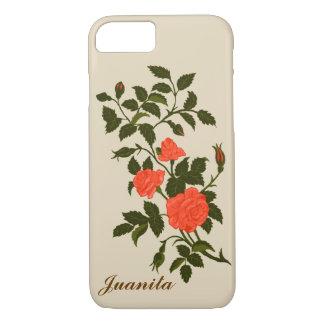 Roses ornementaux colorés par corail saumoné coque iPhone 7