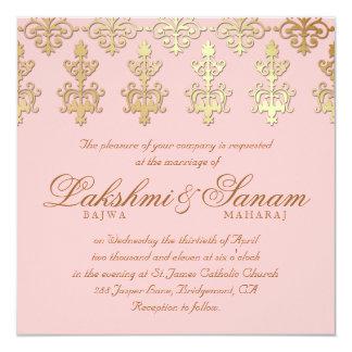 Roses pâles indiennes d'or de damassé d'invitation carton d'invitation  13,33 cm