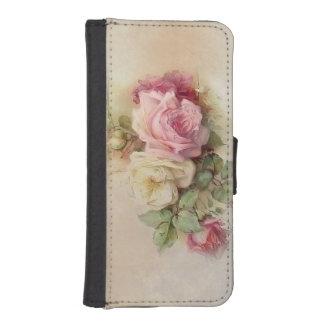 Roses peints à la main vintages coques avec portefeuille pour iPhone 5