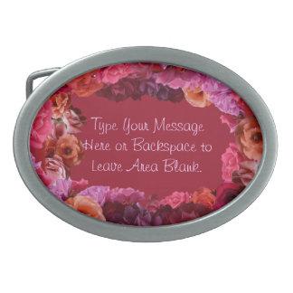 Roses personnalisés roses boucle et cadeaux de bou boucle de ceinture ovale