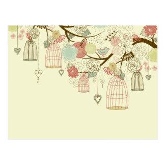 Roses romantiques, oiseaux, cages à oiseaux, cru f carte postale
