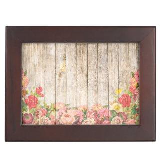 Roses romantiques rustiques vintages en bois boîte à souvenirs