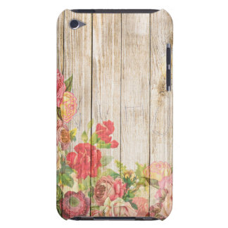 Roses romantiques rustiques vintages en bois coques iPod touch
