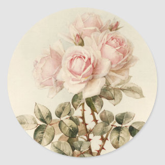 Roses romantiques victoriens vintages adhésifs ronds