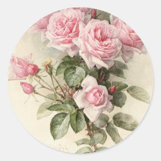 Roses romantiques victoriens vintages autocollant rond