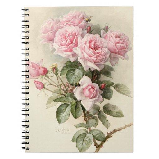 Roses romantiques victoriens vintages carnet à spirale