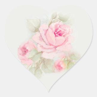 Roses roses d'étiquettes sticker cœur