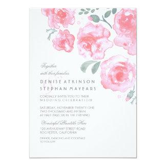 Roses roses épousant - invitations d'aquarelle carton d'invitation  12,7 cm x 17,78 cm