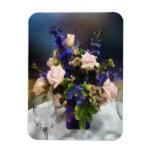 Roses roses et delphinium pourpre magnets souples