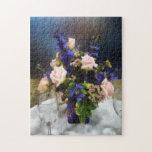 Roses roses et delphinium pourpre puzzle