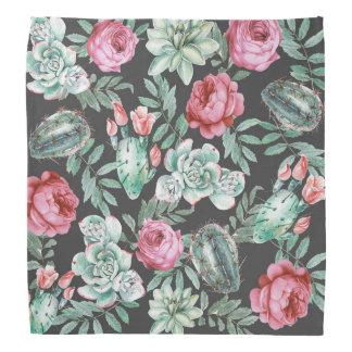 Roses roses et motif succulent de cactus sur le bandana