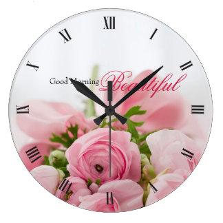 Roses roses grande horloge ronde