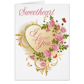 Roses roses Valentine d'amoureux Cartes De Vœux