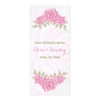 Roses roses vintages épousant la carte de menu