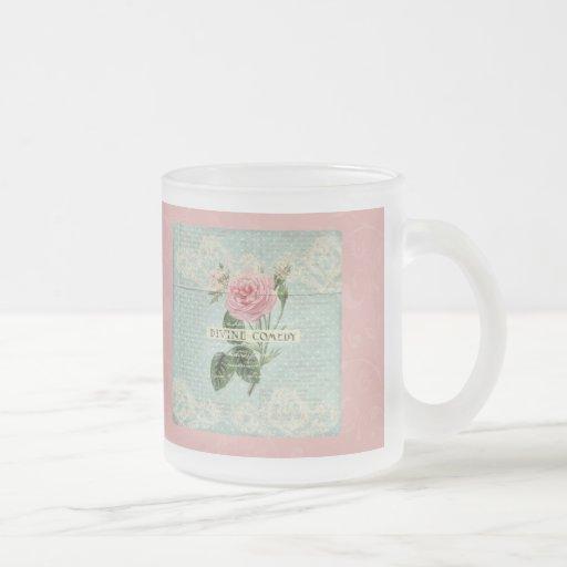 Roses roses vintages et écriture française tasses