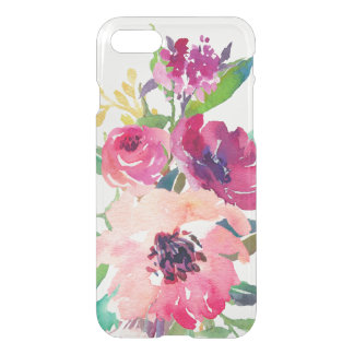 Roses rouge-rose floraux d'aquarelle élégante coque iPhone 8/7