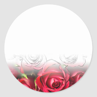 Roses rouges avec les contours noirs sticker rond