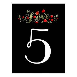 Roses rouges d'AMOUR noir et blanc épousant des Cartes Postales