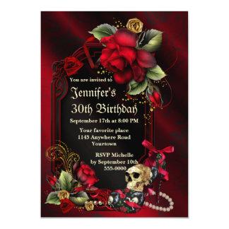 Roses rouges et anniversaire gothique de crâne carton d'invitation  12,7 cm x 17,78 cm
