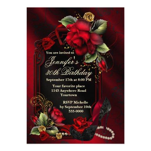 Roses rouges et anniversaire noir d'adulte de chau invitations personnalisées