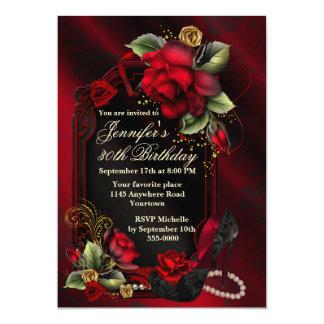 Roses rouges et anniversaire noir d'adulte de carton d'invitation  12,7 cm x 17,78 cm