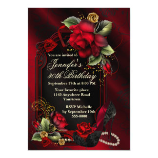Roses rouges et anniversaire noir d'adulte de invitations personnalisées