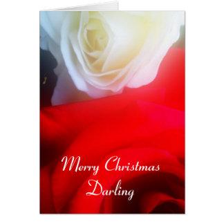 Roses rouges et blancs de carte de Noël romantique