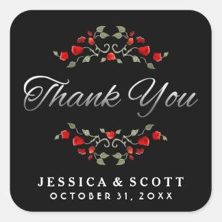 Roses rouges noirs et Merci assorti blanc de Sticker Carré