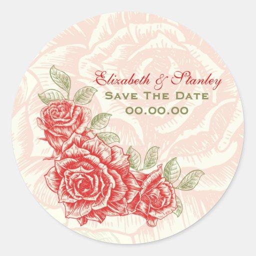 Roses rouges vintages épousant des économies adhésif rond