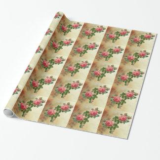 roses rouges vintages papier cadeau