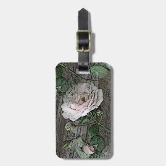 Roses sur le bois étiquette à bagage