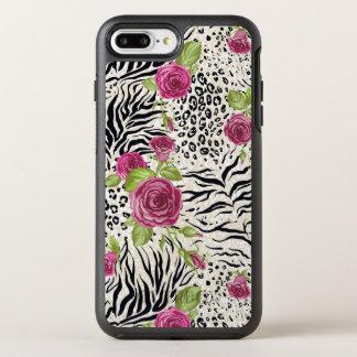 Roses sur le motif animal coque otterbox symmetry pour iPhone 7 plus