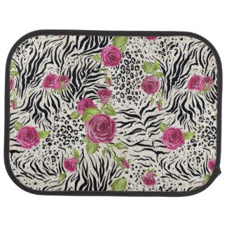 Roses sur le motif animal tapis de sol