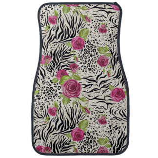 Roses sur le motif animal tapis de voiture