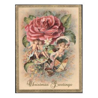 Roses victoriens et carte postale de Noël d'anges