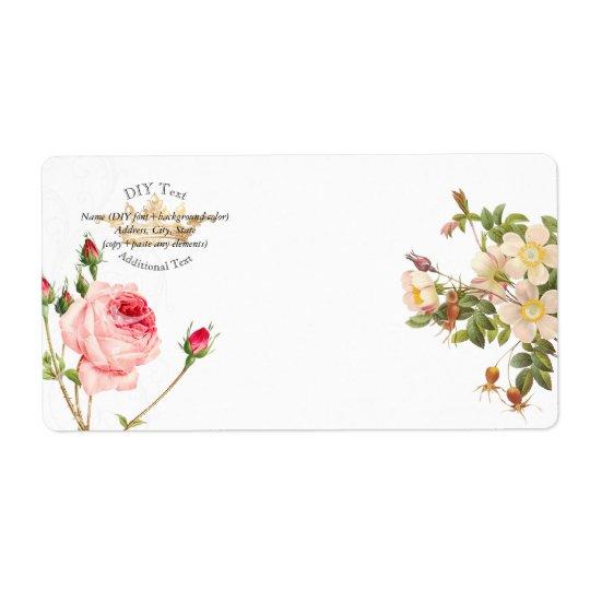 Roses vintages de PixDezines Redoute/couronne d'or Étiquette D'expédition