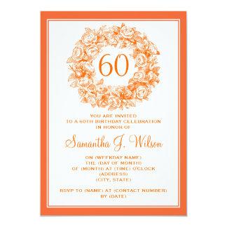 Roses vintages de soixantième anniversaire élégant carton d'invitation  12,7 cm x 17,78 cm