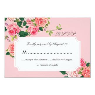 Roses vintages épousant la carte de RSVP Carton D'invitation 8,89 Cm X 12,70 Cm