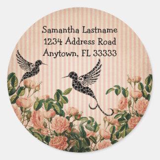Roses vintages et étiquette de adresse artistique