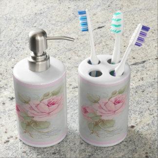 Roses vintages savon et style chic minable de set de salle de bain