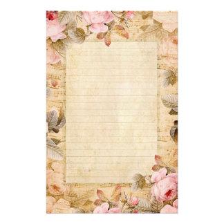 Roses vintages stationnaires papier à lettre personnalisé