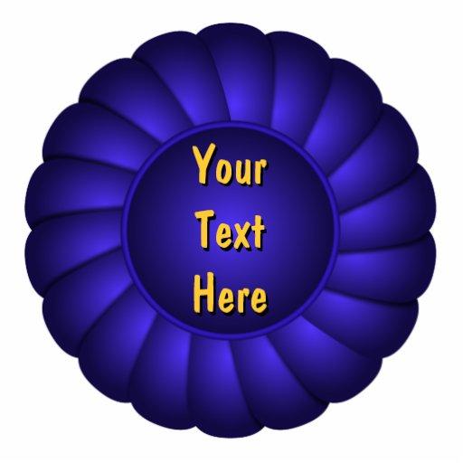 Rosette de ruban bleu à personnaliser photo en relief