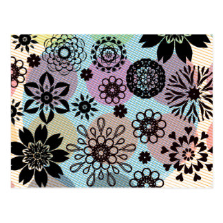 Rosette flowers on a stripped background carte postale