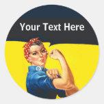 Rosie la travailleuse active d'effort de guerre de sticker rond