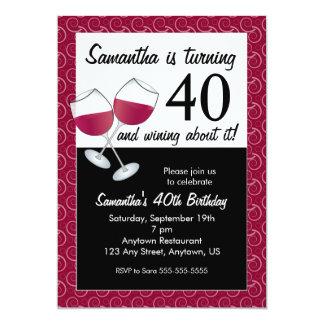 Rotation de 40 et Wining, fête d'anniversaire de Carton D'invitation 12,7 Cm X 17,78 Cm