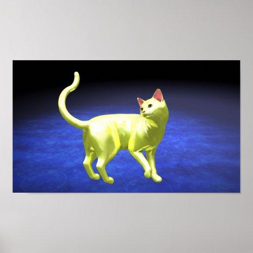 Rotation jaune de chat affiches