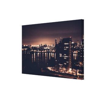 Rotterdam à la toile simple de paysage de nuit