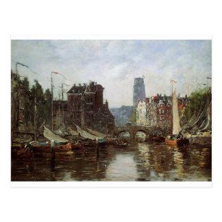 Rotterdam, bourse de Le Pont de par Eugene Boudin Cartes Postales