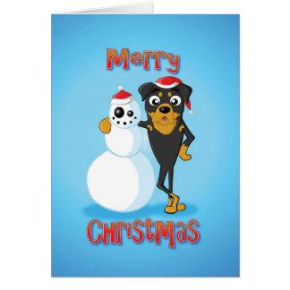 rottweiler - bonhomme de neige - Joyeux Noël Carte De Vœux